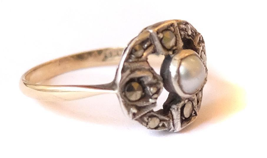 Vintage Art Deco Sterling Silver & 9ct Yellow Gold Pearl Ring (Size: L)