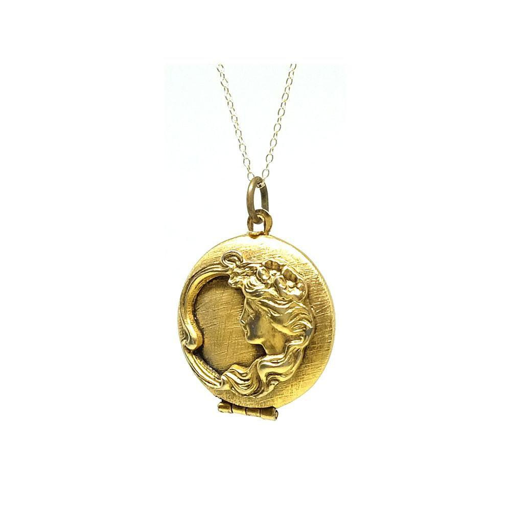 Antique Art Nouveau Gilt Gold Locket