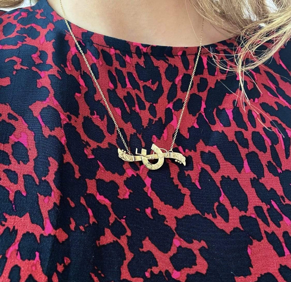 BY MAYVEDA Necklace Antique Victorian Good Luck 9ct Gold Necklace