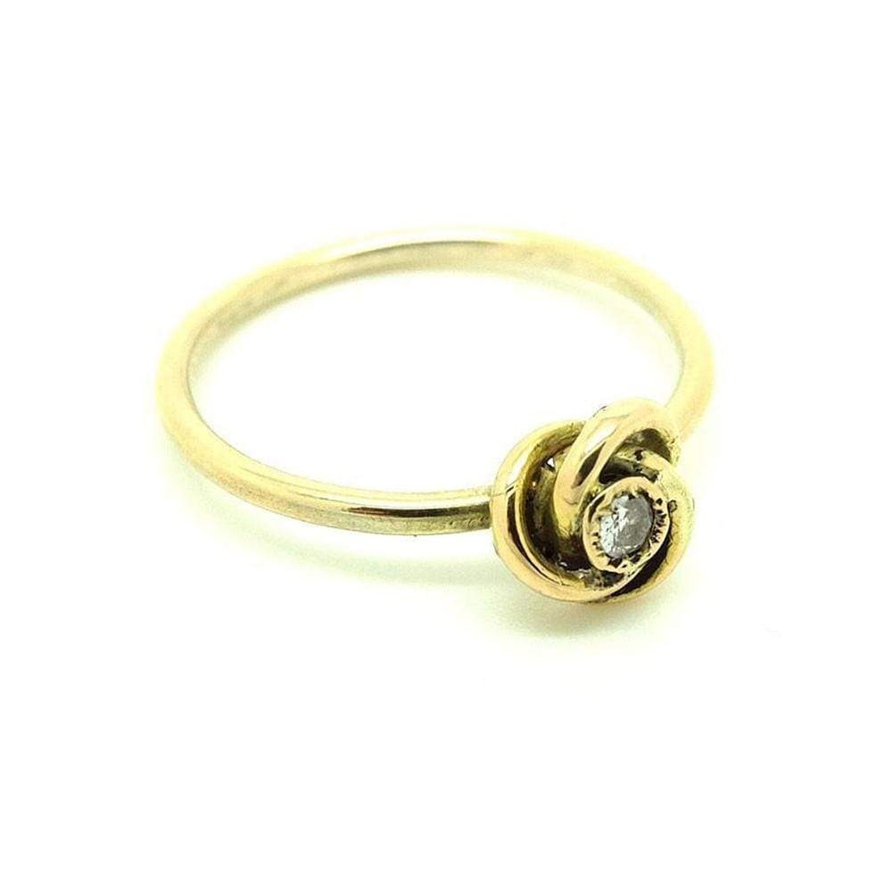 BY MAYVEDA Ring Antique Victorian Diamond Knot 9ct Yellow Gold Gemstone Ring | Q / 8.5