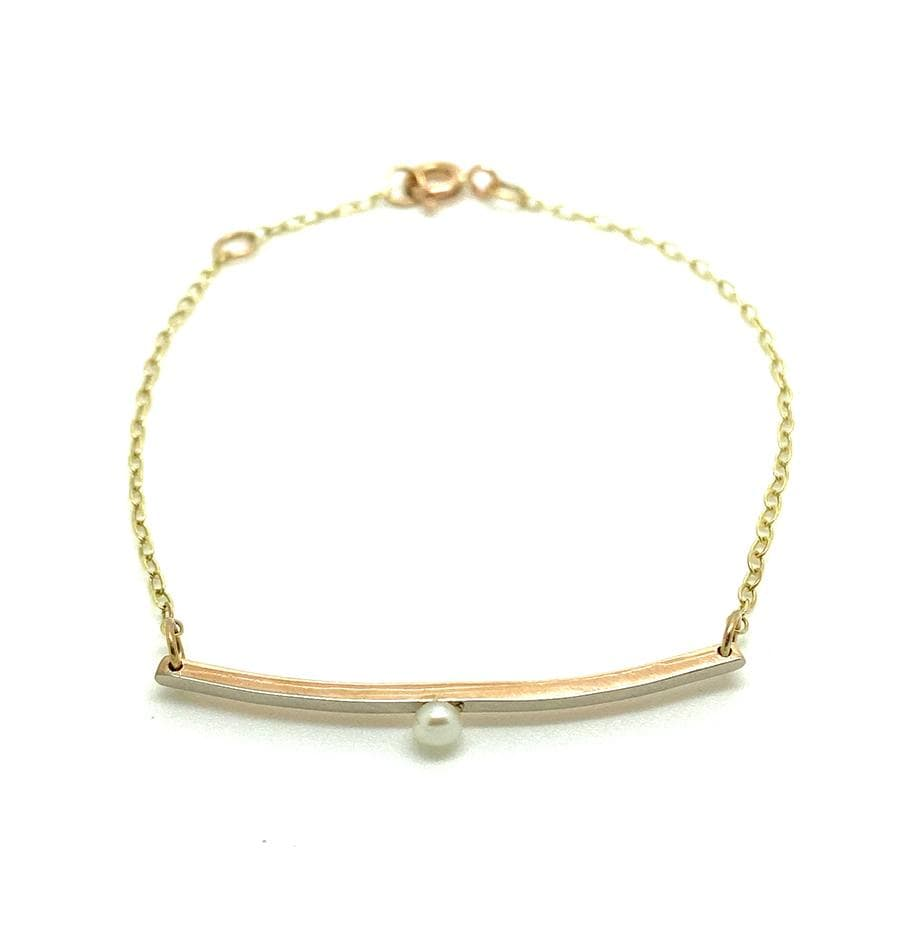 EDWARDIAN Bracelet Antique Edwardian Pearl 9ct Gold Bar Bracelet
