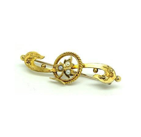 Antique Edwardian 15ct Gold Seed Pearl Brooch