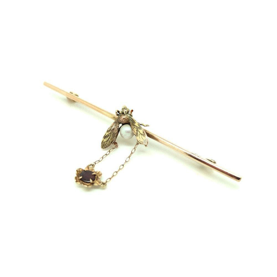 Antique Edwardian 9ct Gold Fly Pearl Brooch