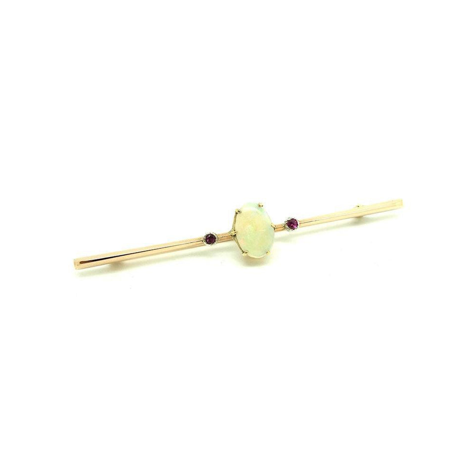 Antique Edwardian 9ct Gold Opal & Ruby Bar Brooch Pin