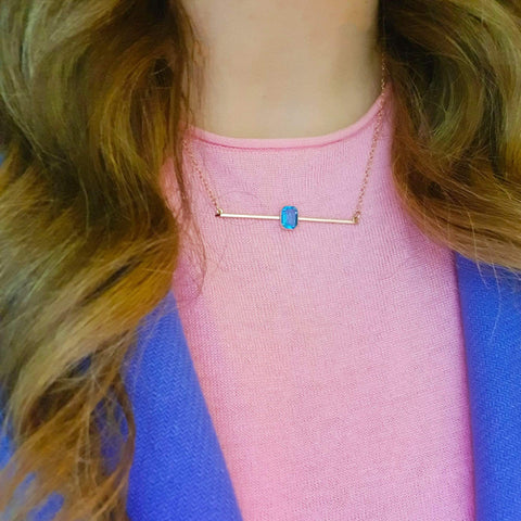Antique Edwardian Blue Glass 9ct Rose Gold Bar Necklace