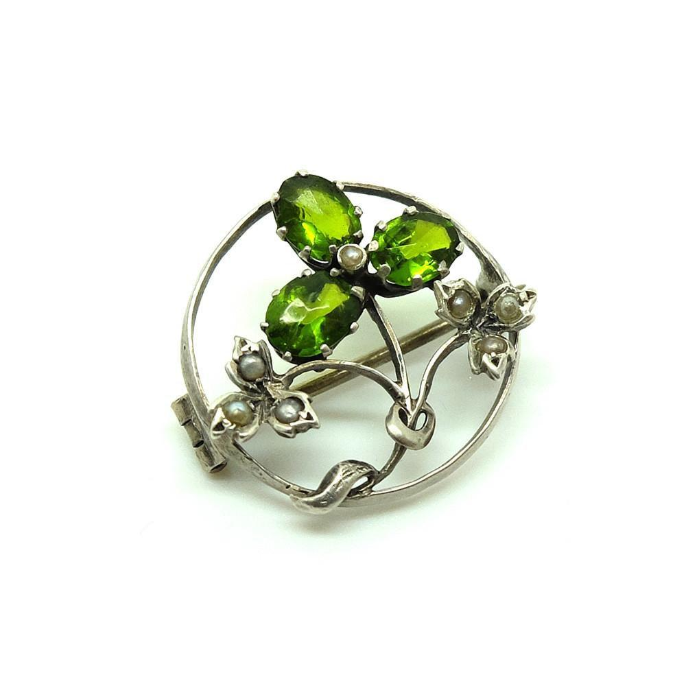 Antique Edwardian Green Silver Brooch