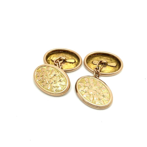 EDWARDIAN Cufflinks Antique Edwardian Oval Ivy 9ct Rose Gold Cufflinks