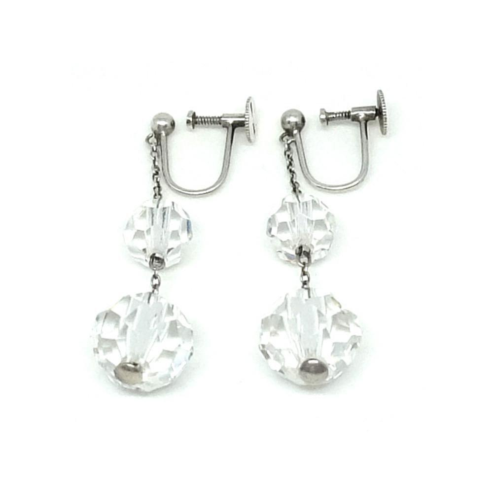 Antique Edwardian Silver & Crystal Earrings