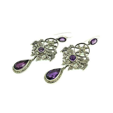 Antique Victorian Cut Steel Drop Earrings