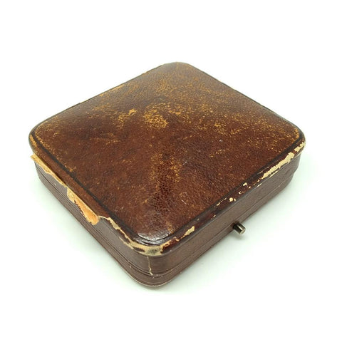 Antique Edwardian Brown Leather Jewellery Box