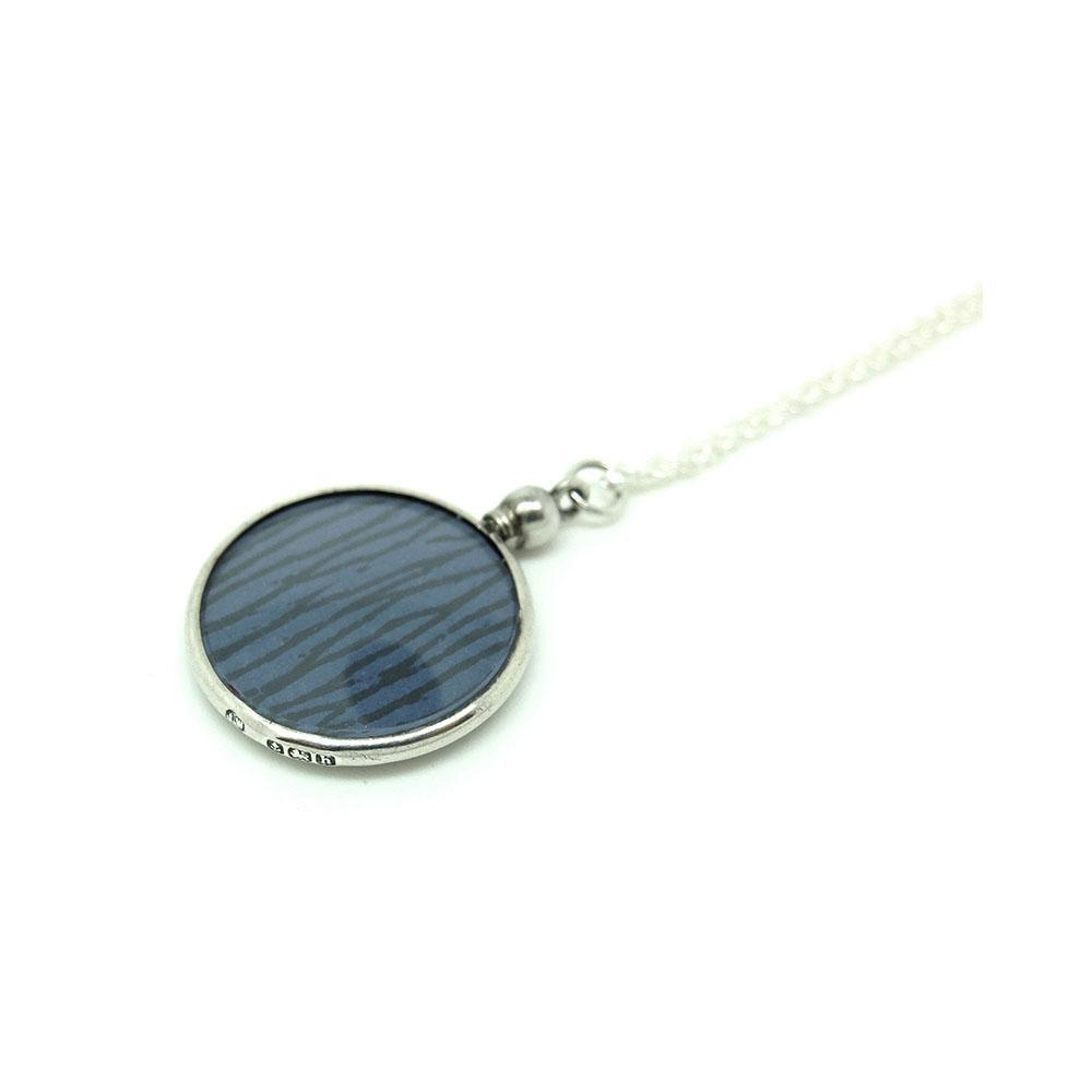 Antique 1907 Edwardian Sterling Silver Glass Locket Necklace