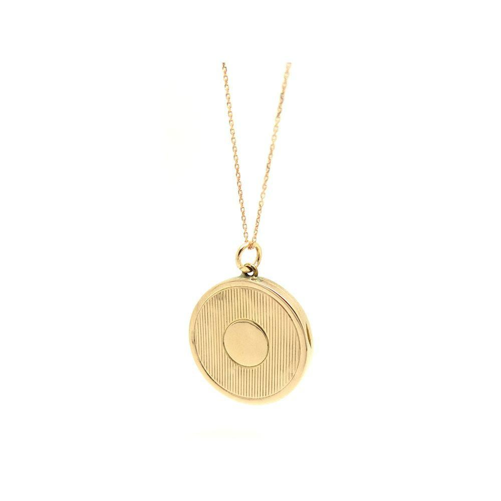 Antique Edwardian 1909 Solid 9ct Gold Locket Necklace