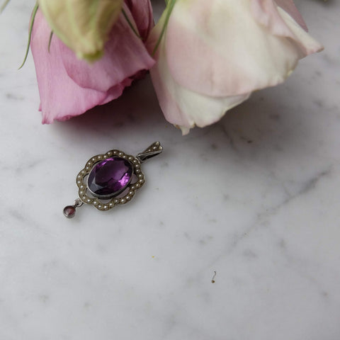 Antique Edwardian 1910 Amethyst Glass Sterling Silver Necklace