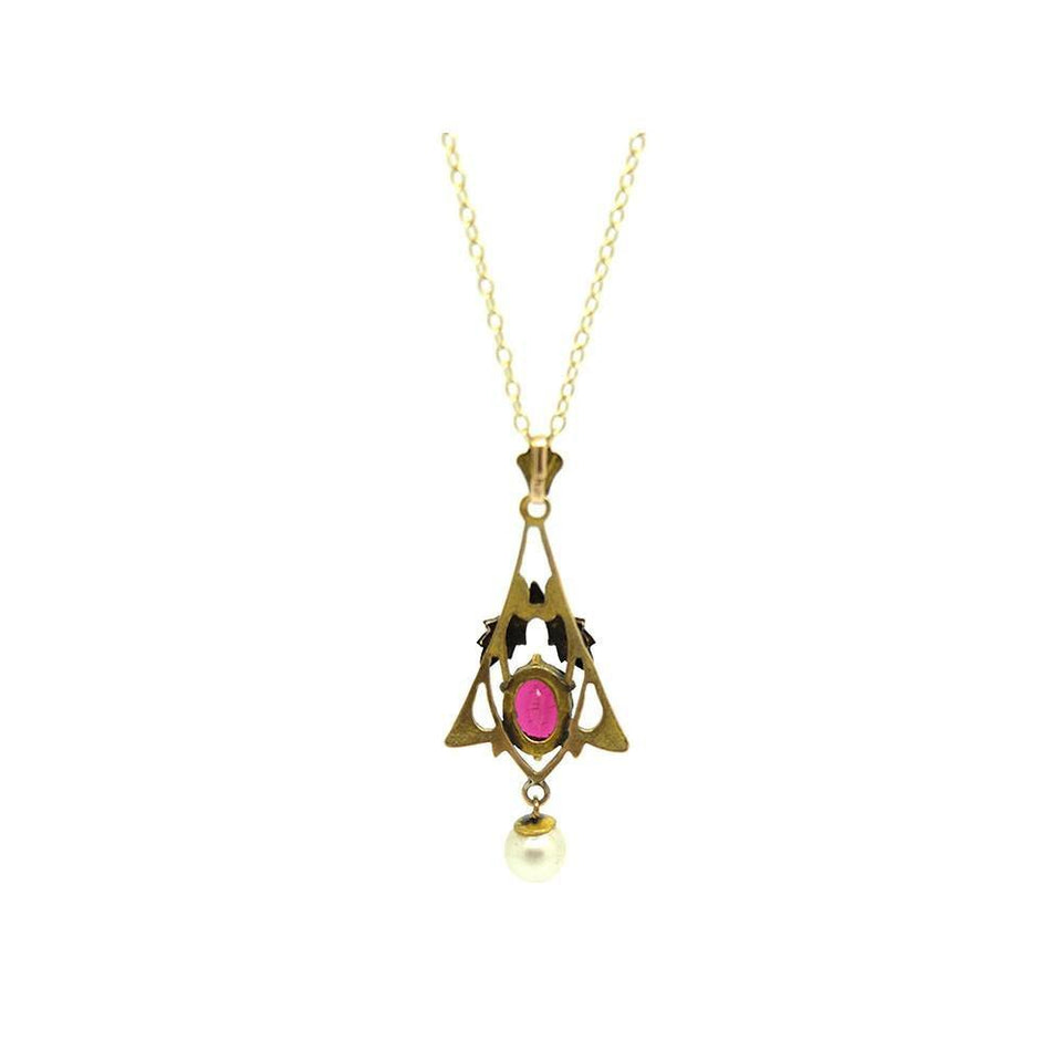 Antique Edwardian 1910 Red Glass & Pearl 9ct Gold Pendant