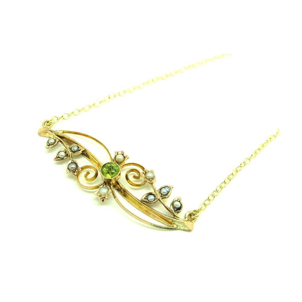 Antique Edwardian 1912 Seed Pearl & Peridot 9ct Gold Necklace