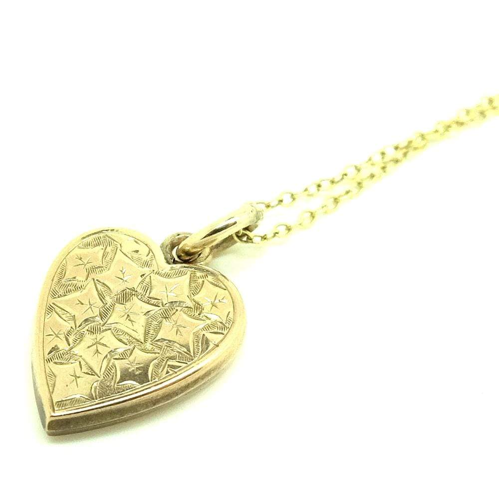 EDWARDIAN Necklace Antique Edwardian 9ct Gold Ivy Heart Charm Necklace