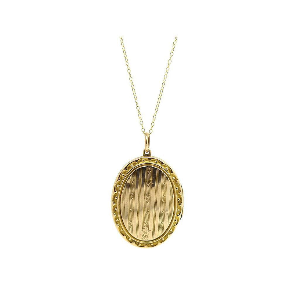 Antique Edwardian 9ct Rose Gold Locket Necklace