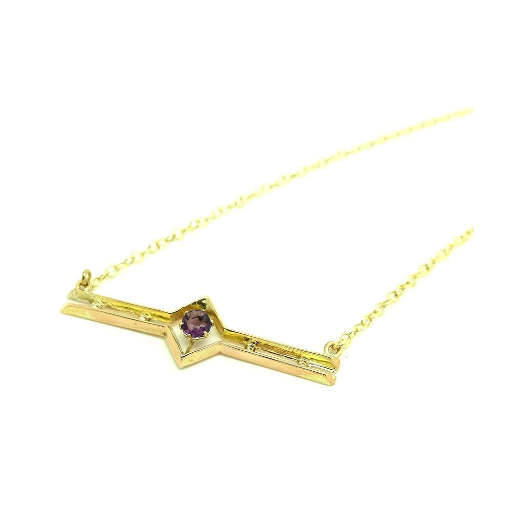 Antique Edwardian Amethyst 9ct Gold Necklace