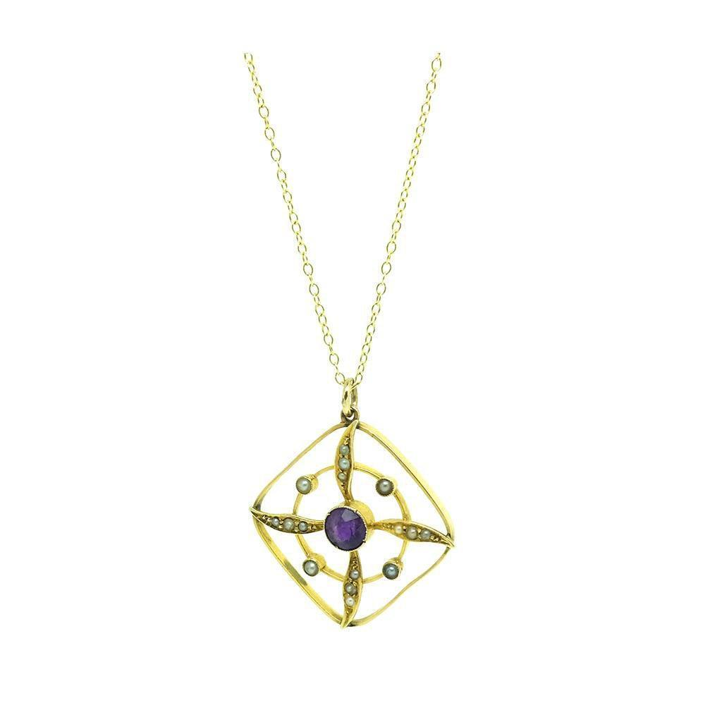 Antique Edwardian Amethyst & Pearl 9ct Gold Pendant Necklace
