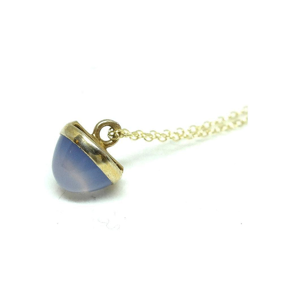 Antique Edwardian Blue Chalcedony Gemstone Pendant Necklace