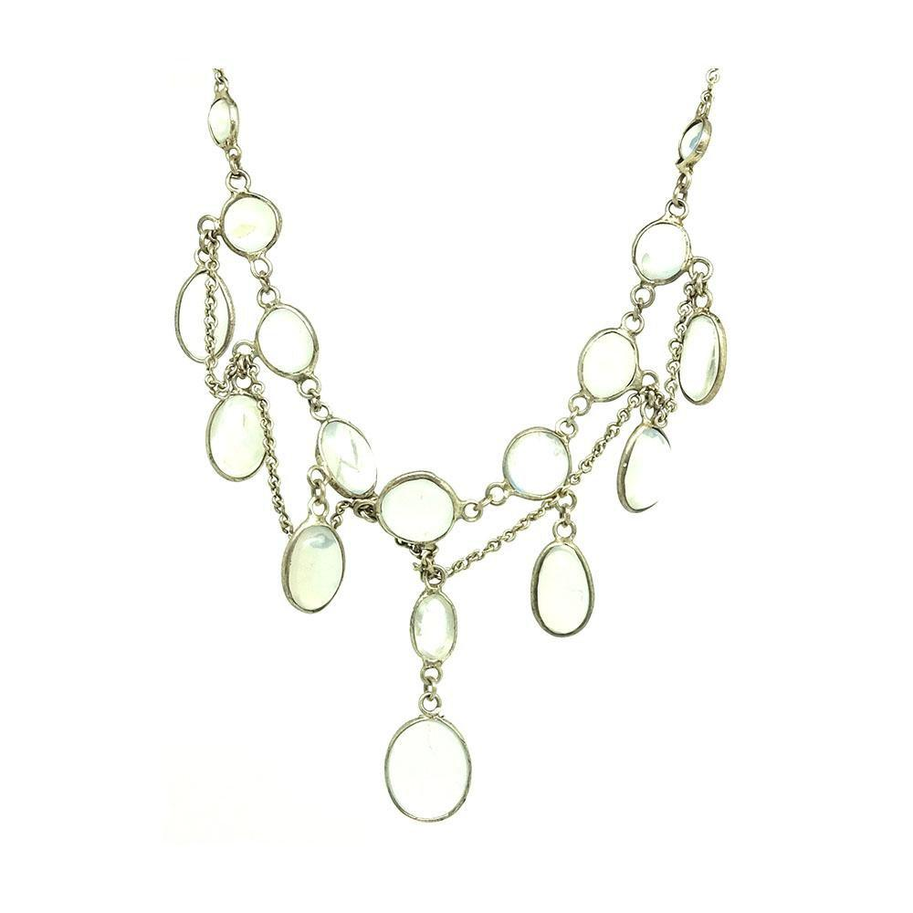 Antique Edwardian Moonstone Sterling Silver Necklace