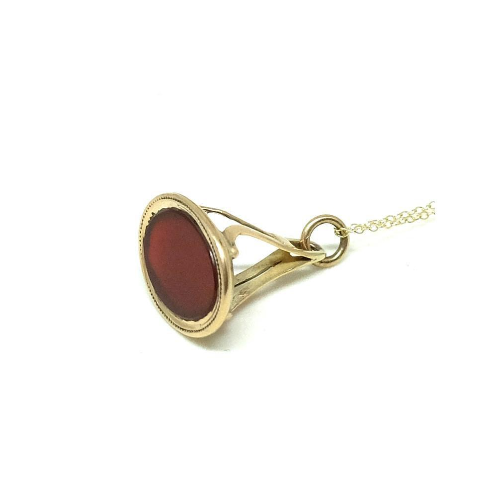 Antique Edwardian Oval Carnelian Gemstone Fob 9ct Yellow Gold Pendant Necklace