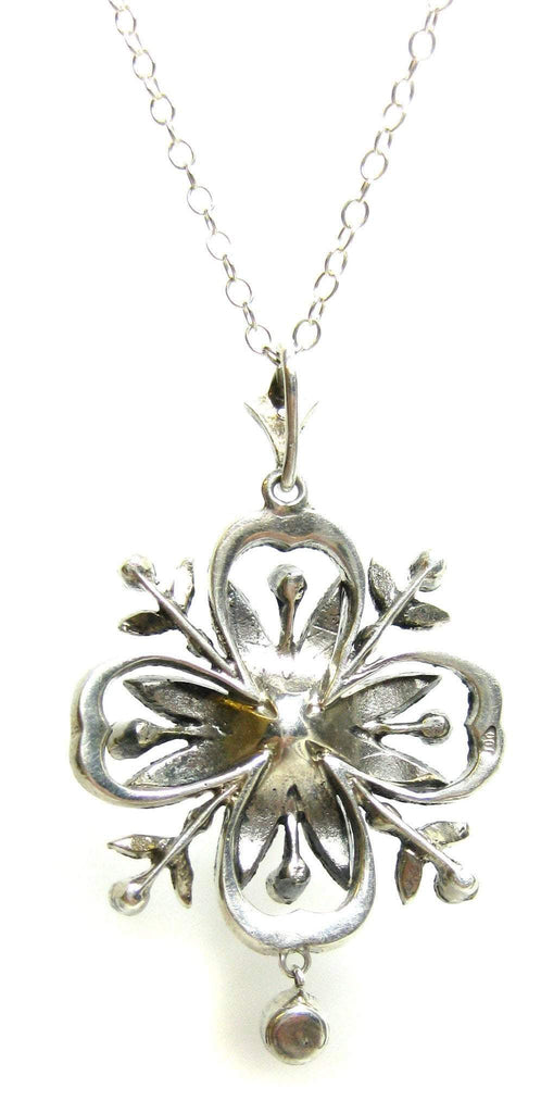 Antique Edwardian Paste Silver Pendant