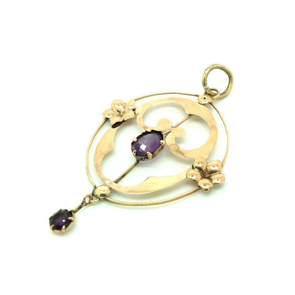 Antique Edwardian Purple Amethyst Rose Gold Lavalier Pendant Gemstone Necklace