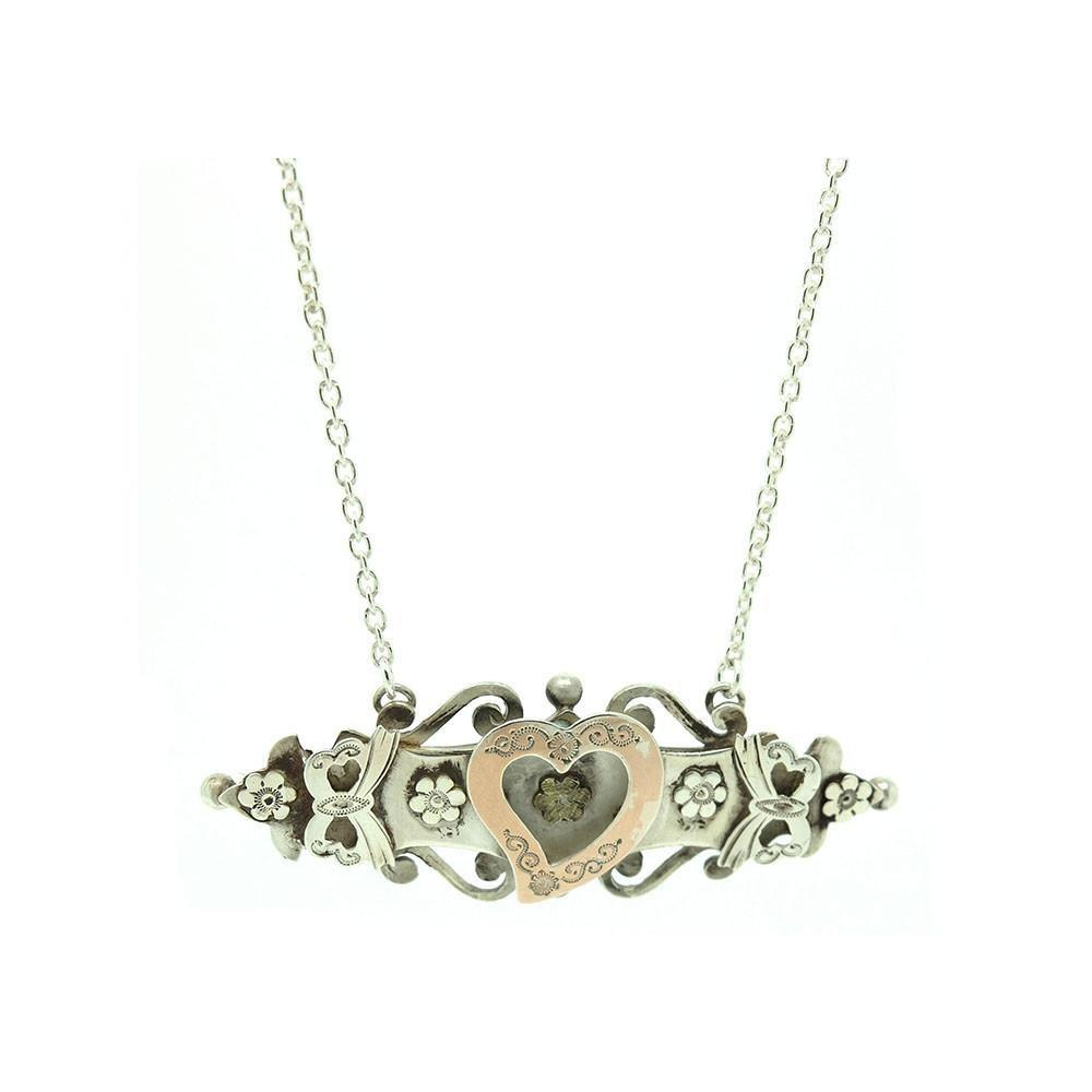 Antique Edwardian Sterling Silver Heart Conversion Necklace