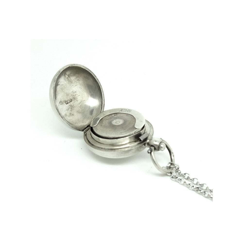 Antique Edwardian Sterling Silver Sovereign Case Locket Necklace