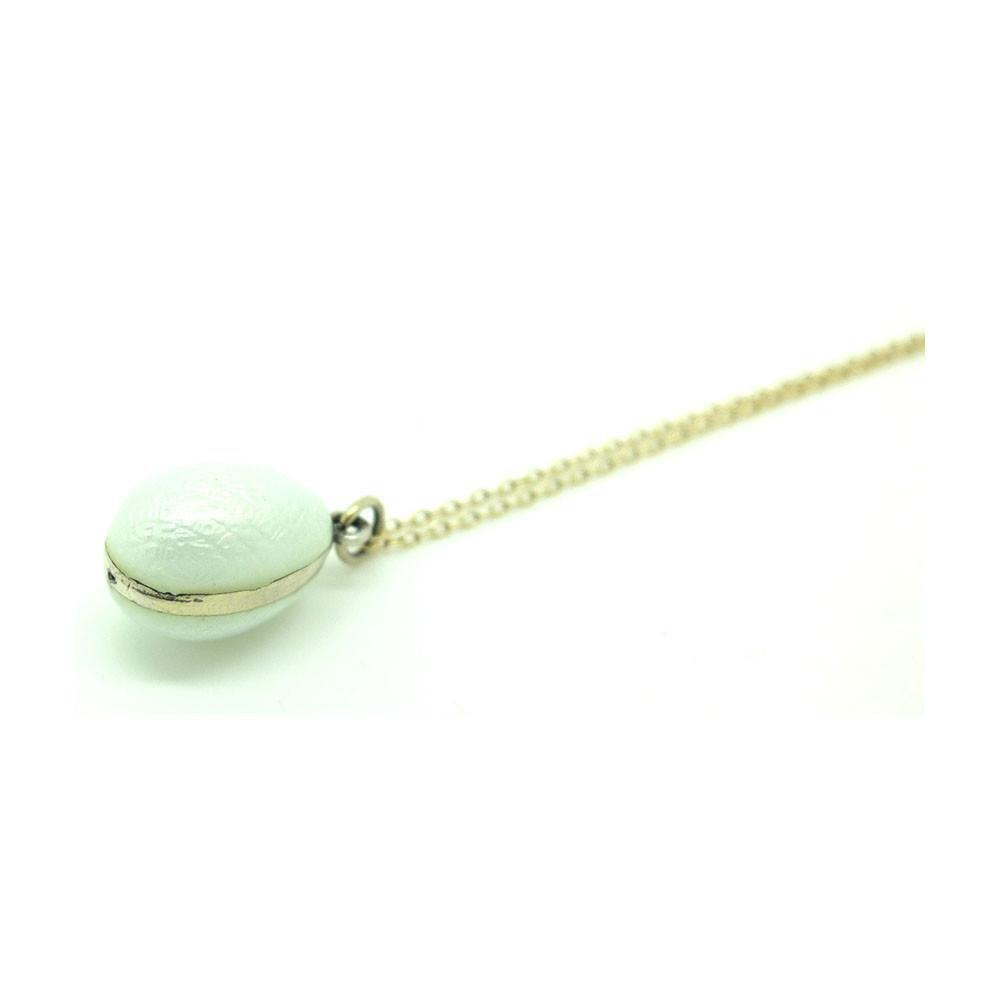 Antique Edwardian White Enamel Silver Egg Necklace