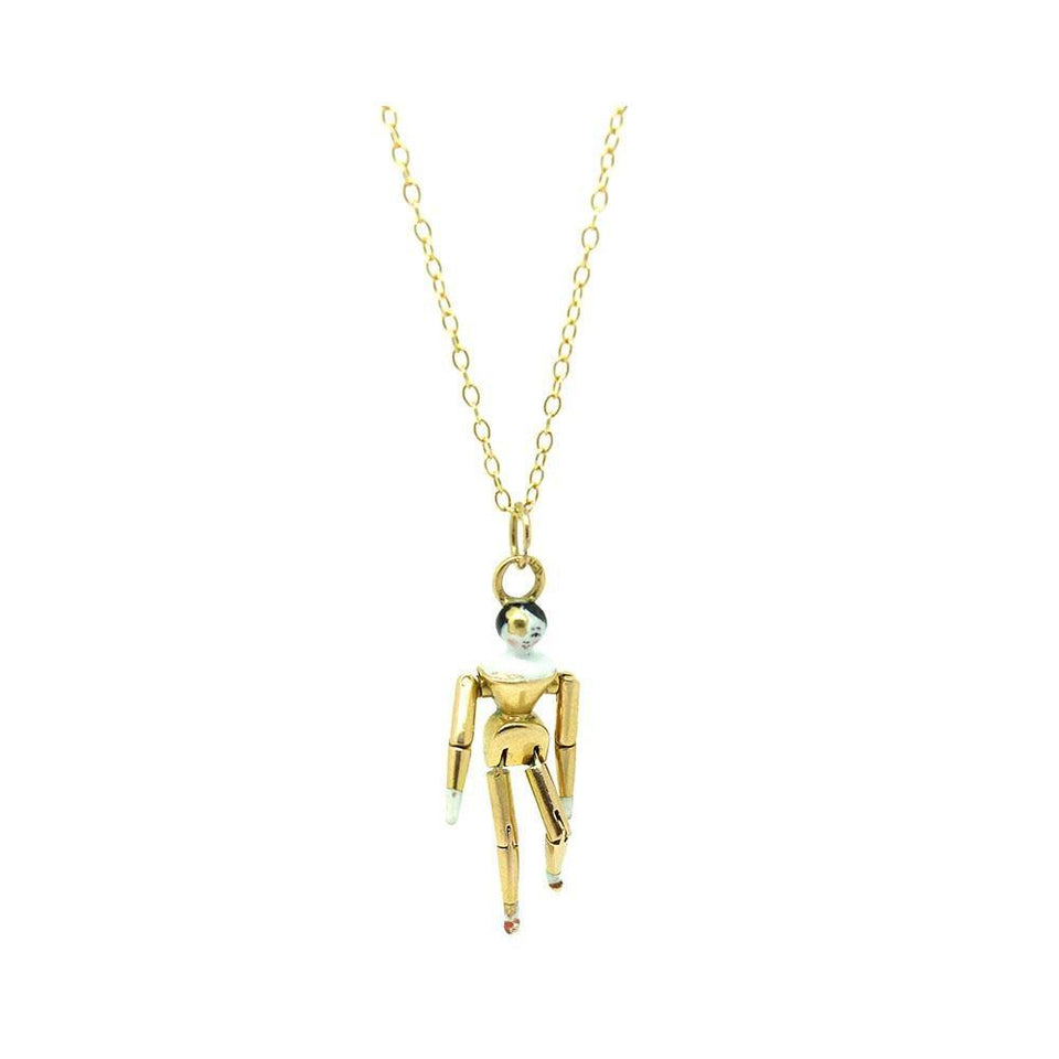 Edwardian 1910 15ct Articulated Doll Charm Necklace