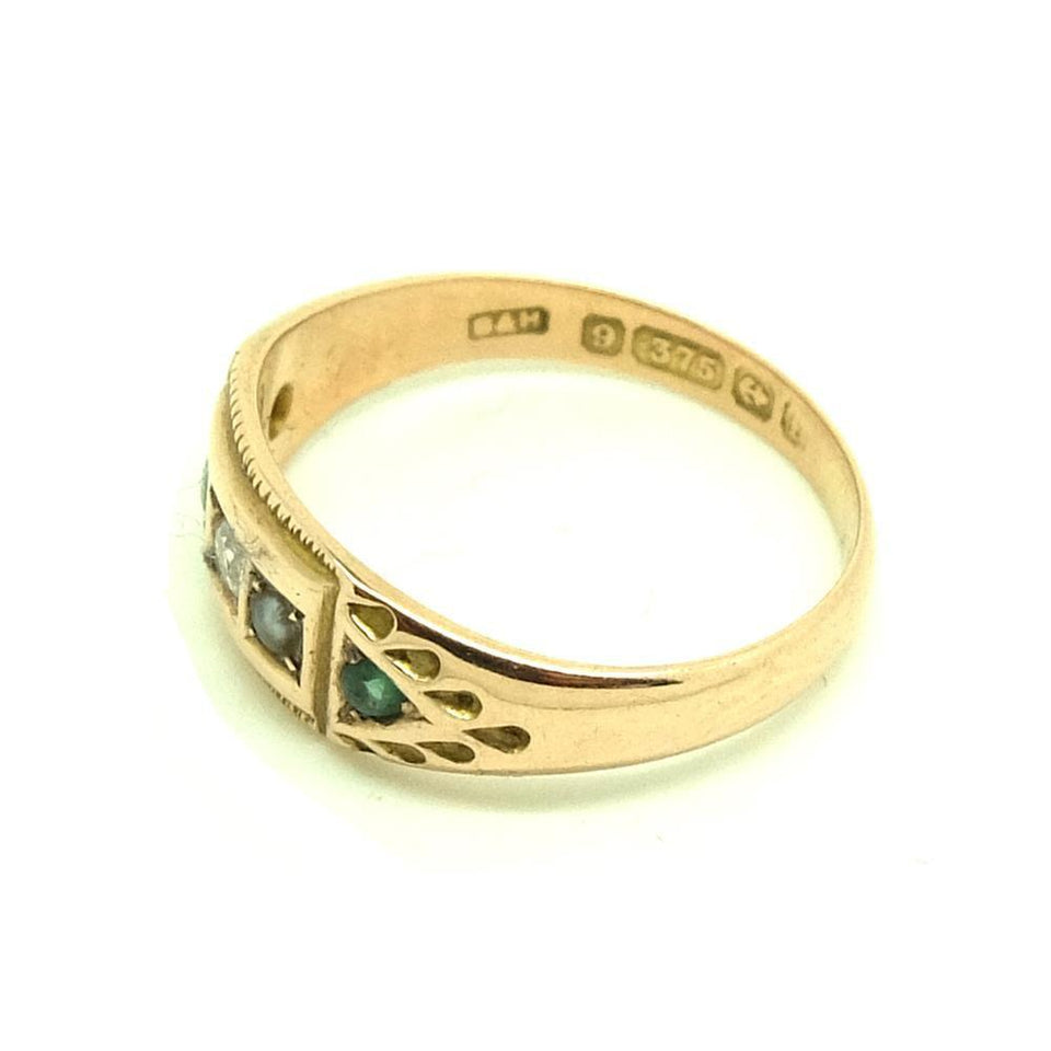 Antique 1905 Edwardian Diamond & Green Garnet 9ct Gold Ring