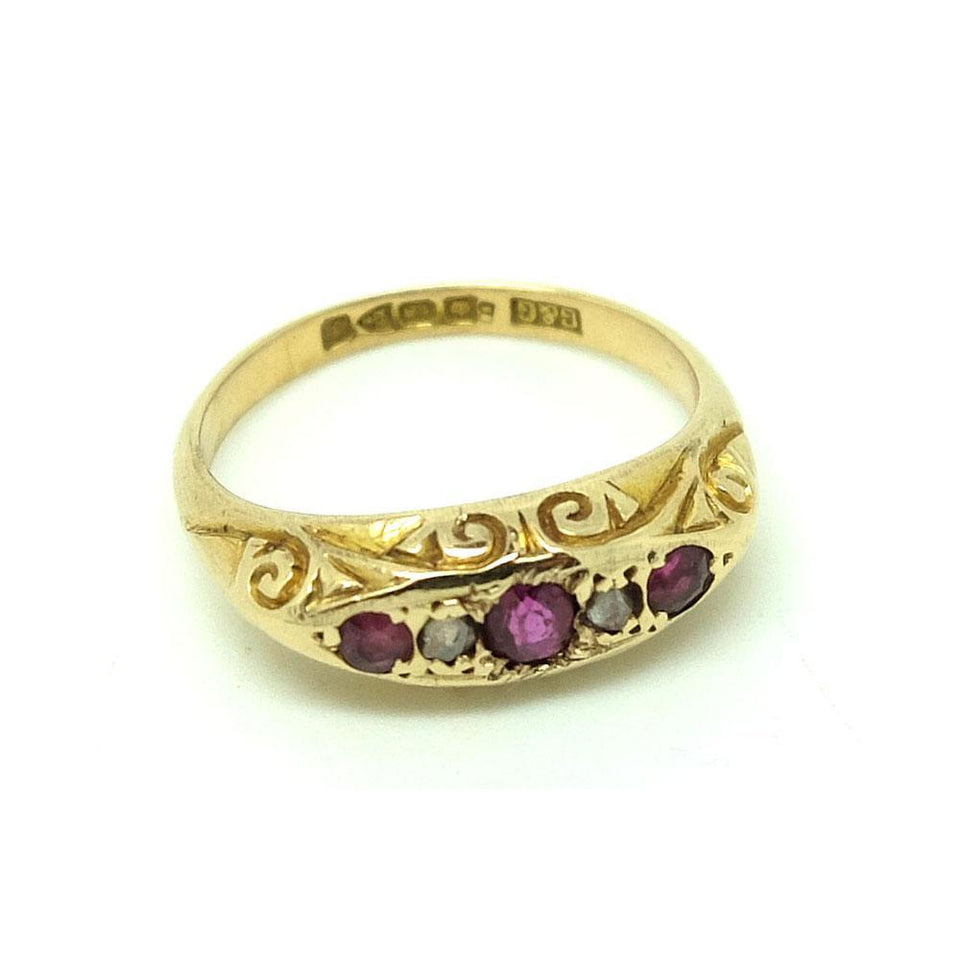 Antique 1918 Diamond & Ruby 18ct Gold Ring - Size M
