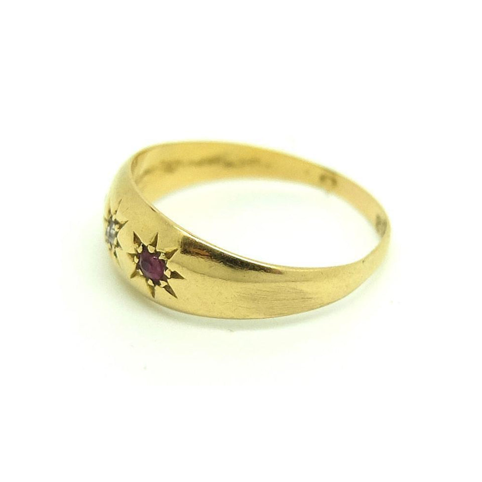 Antique Edwardian 1902 Diamond & Ruby 18ct Gold Ring