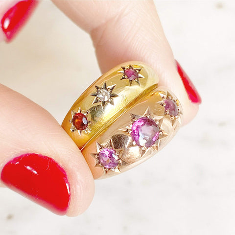 EDWARDIAN Ring Antique Edwardian 1903 Diamond Ruby 18ct Yellow Gold Ring