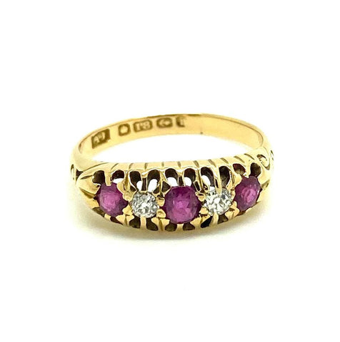 Vintage 1970s Spinel Full Eternity 9ct Gold Ring