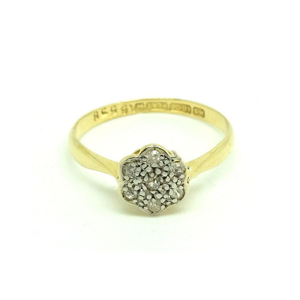 Antique Edwardian Diamond 18ct Gold Daisy Ring