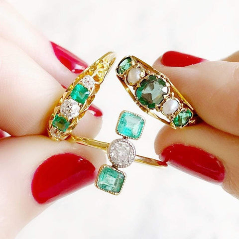 EDWARDIAN Ring Antique Edwardian Diamond Emerald 18ct Gold Ring