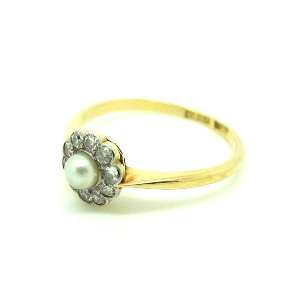 Antique Edwardian Diamond & Pearl 18ct Yellow Gold Gemstone Engagement Ring | O 1/2 (7.5)