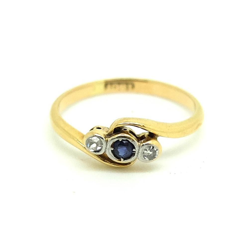 Antique Edwardian Diamond & Sapphire 18ct Gold Pink Ring