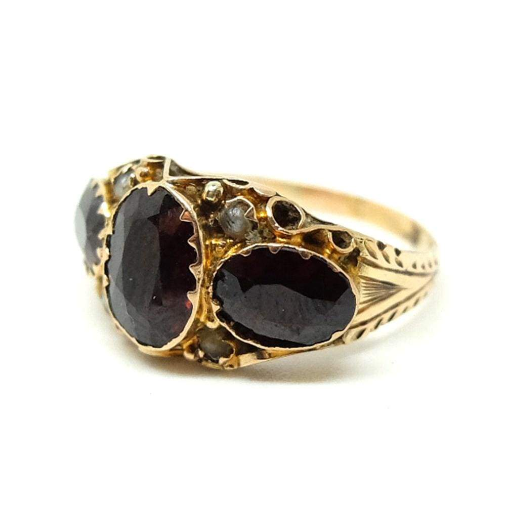 EDWARDIAN Ring Antique Edwardian Garnet 9ct Yellow Gold Ring