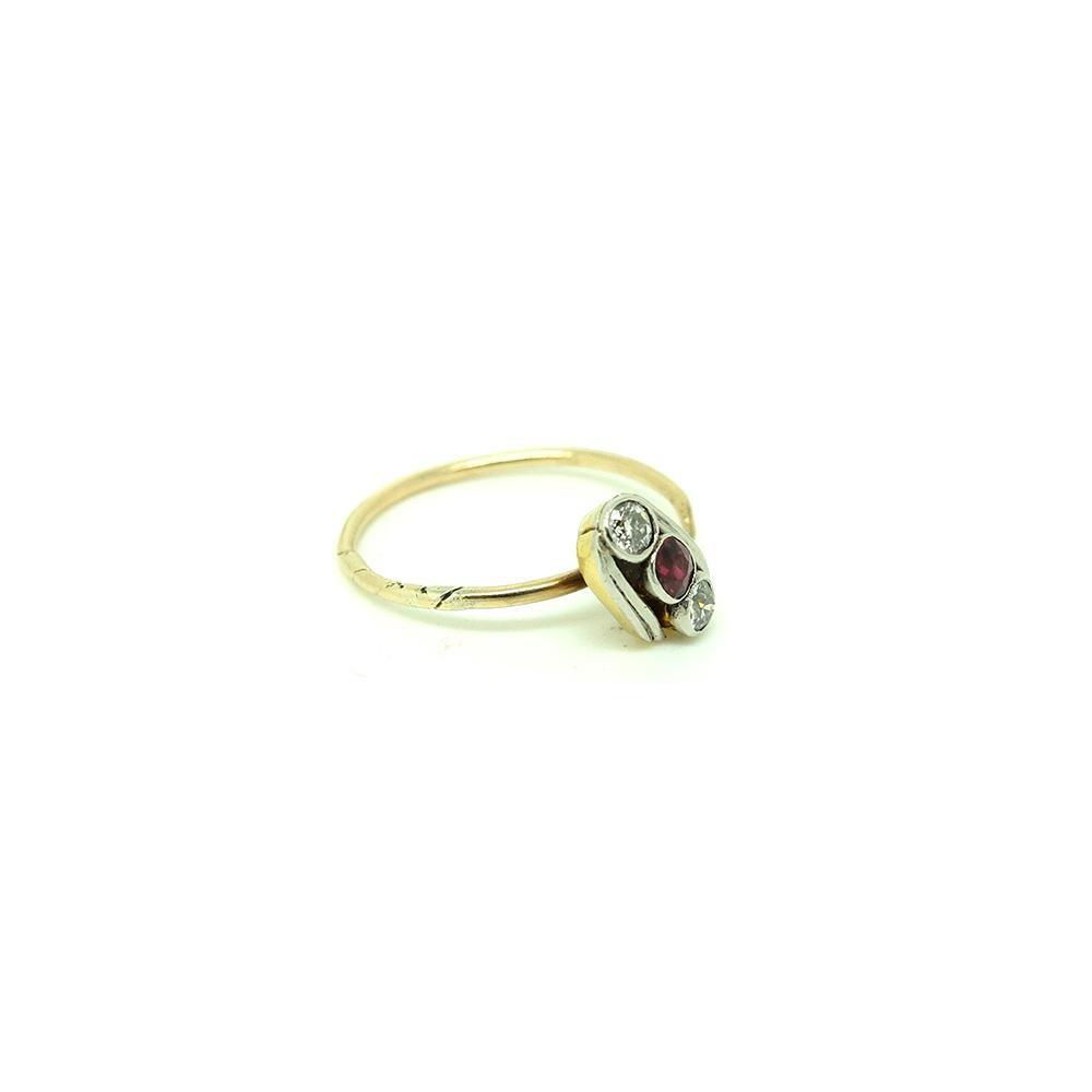 Antique Edwardian Ruby & Diamond 9ct Gold Pin Gemstone Ring | P / 8