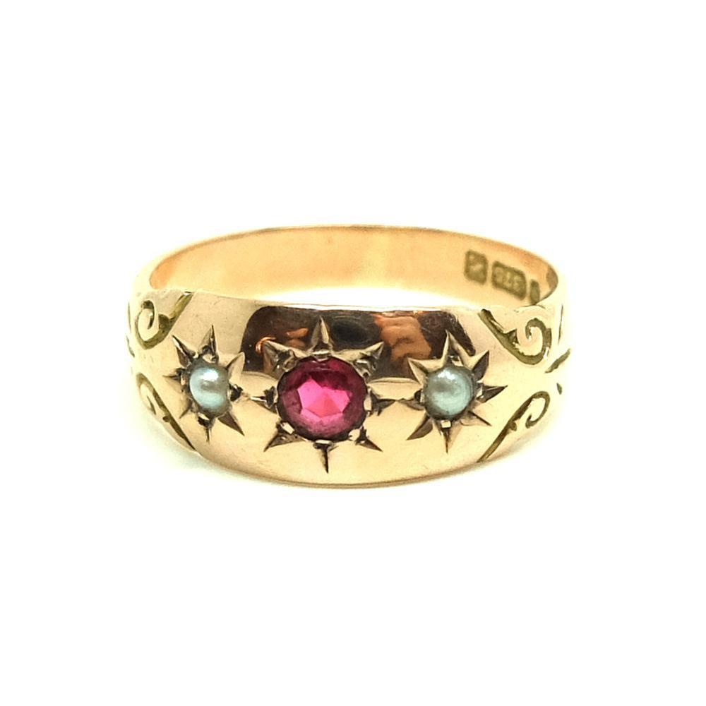 Antique Edwardian Ruby & Pearl  9ct Rose Gold Ring