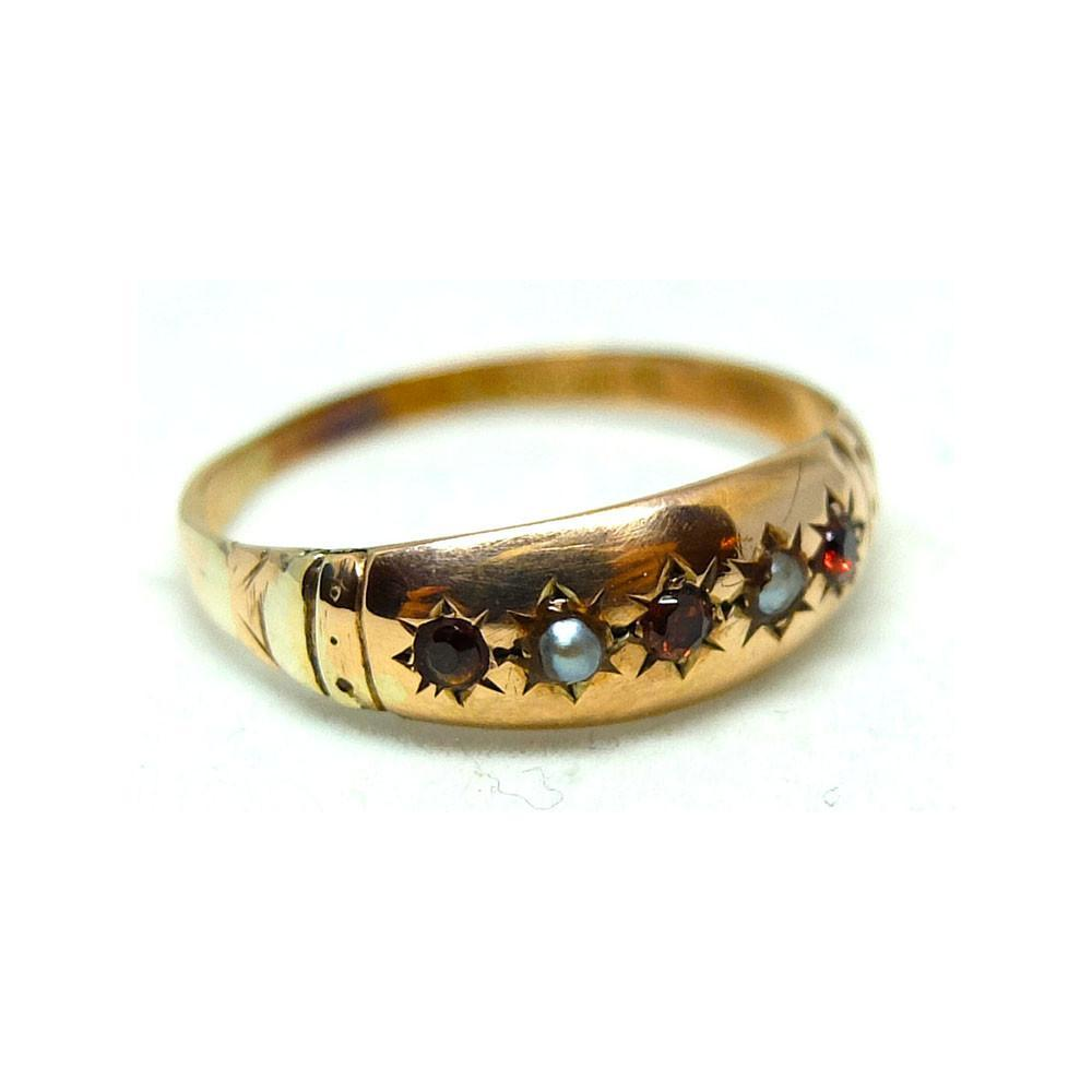 Antique Edwardian Ruby & Seed Pearl 9ct Rose Gold Gypsy Ring