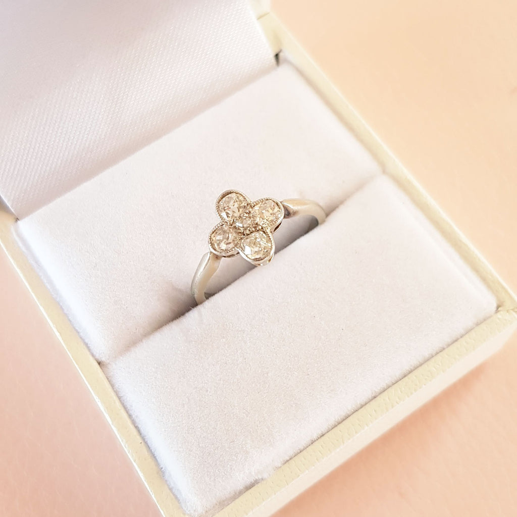 Antique Edwardian White Gold Diamond 0.41ct Engagement Ring | K / 5.5