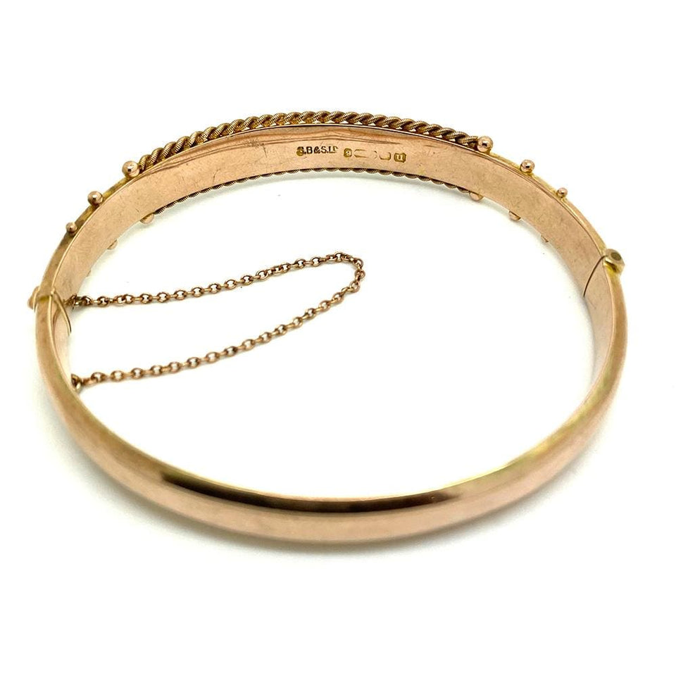 George V Bracelet Antique George V 1919 9ct Yellow Gold Rope Bangle