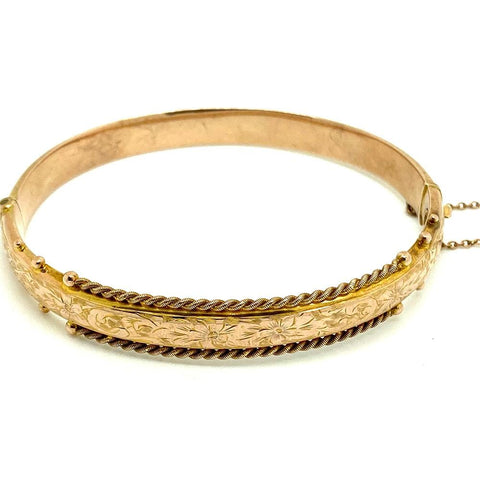 Antique Edwardian 1904 9ct Rose Gold Rope Bangle Bracelet