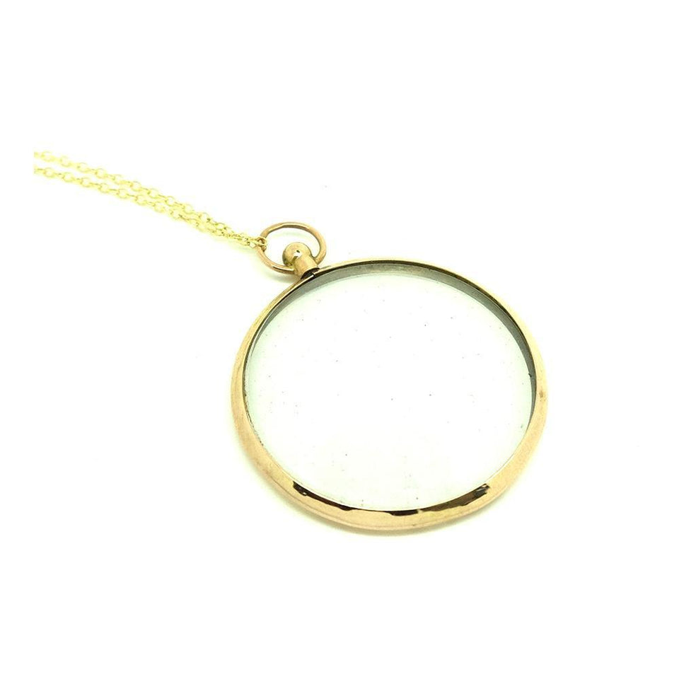 Antique 1915 9ct Yellow Gold Glass Locket Necklace