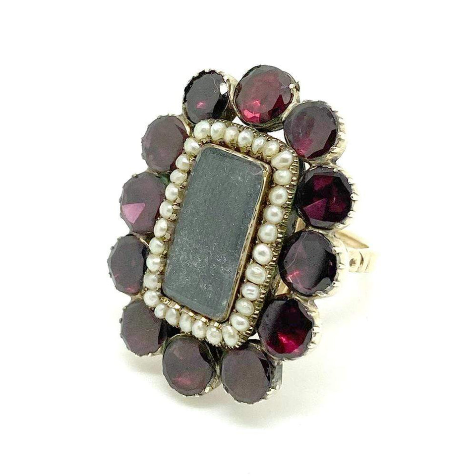 GEORGIAN Ring Antique Georgian Cut Garnet Seed Pearl Ring